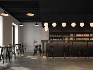 The coffee shop with industrial loft style design has concrete floors, white brick walls, black ceilings, wooden counter bar decorated with black metal mesh. decorate with beautiful lamp,3d render