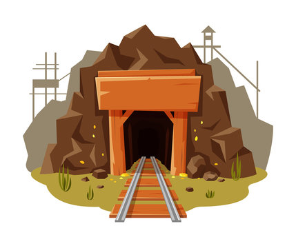 Mine gold illustration on white background with place for your text. Golden cave with wooden banner and railway in cartoon style, vector