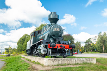 Kouvola, Finland - 22 September, 2019: Old steam locomotive as an exhibit at the Kouvola railway station in Finland.