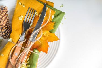 Autumn cutlery background