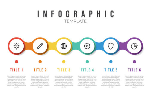 infographic list template element with horizontally 6 points and icons