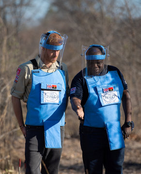 Prince Harry visits landmine project in Dirico Province