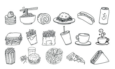 set of food and drink vector illustration. fast food detail lineart illustration on isolated background