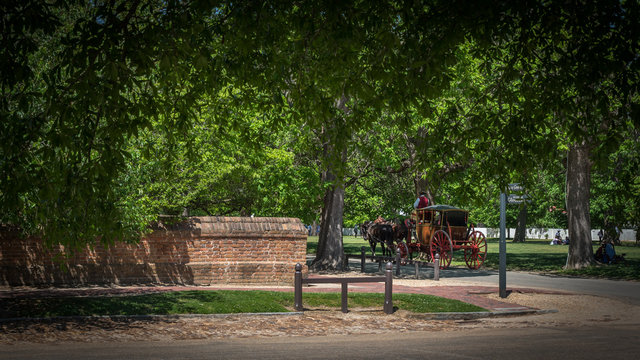 Horse drawn carriage traveling down Williamsburg Road