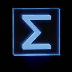 Clear transparent glass or plexiglass display with luminous Greek alphabet letter Sigma as symbol used in sciences inside on dark background for interior decoration, 3D rendered image