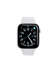 UZHGOROD, UKRAINE - DECEMBER 22, 2018: New Apple Watch 4, 44 inches on a white background. Apple Watch is a line of smartwatches designed, developed, and marketed by Apple Inc.