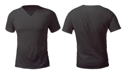 Black V-Neck Shirt Design Template