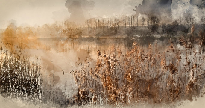 Digital watercolor painting of Landscape of lake in mist with sun glow at sunrise