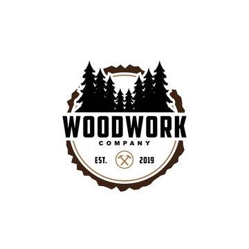 Wood work logo design template.creative badge for woodwork company..Carpentry logo inspiration