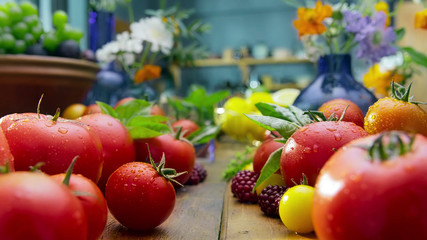 showcase vegetables and fruits landscape picture in kitchen room