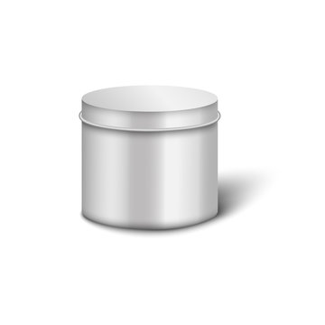 Metal cylinder jar mockup with round lid and realistic shiny silver texture