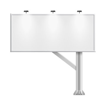 Blank whiteboard with empty copy space, stand on one bar support. White billboard without frame for commercial or presentation, rectangle and horizontal. Mockup board with single stand, in vector.