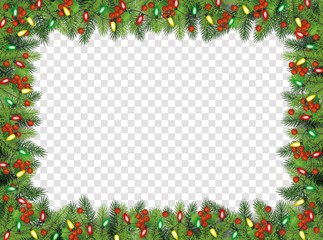 Christmas fir-tree with holly berries frame, vector illustration isolated.