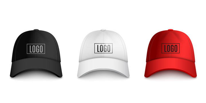 Realistic baseball cap front view mockup set with text logo template.