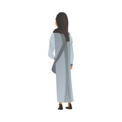 Muslim woman in islamic dress and hijab flat cartoon vector illustration isolated.