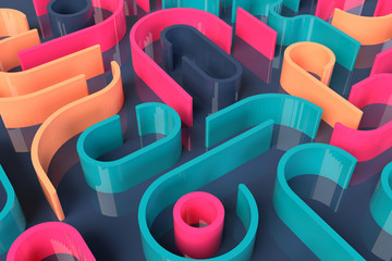 3d abstract minimal modern background, colorful lines on dark. Simple clean design 3D illustration.