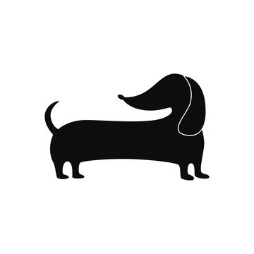 Cute wiener dog silhouette isolated on white background
