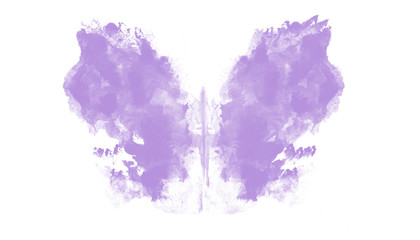 purple butterfly watercolor abstract on white background