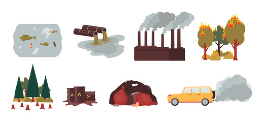 Environment pollution and ecology disaster set - isolated vector illustration Fotobehang
