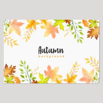 watercolor autumn invitation card template