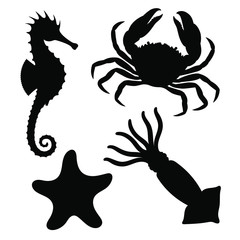 Sea animals icons set. Seahorse, starfish, crab and squid graphic signs isolated on white background. Sea life symbols. Vector illustration