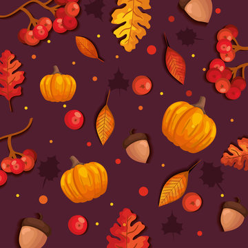 autumn background with leafs and pumpkins