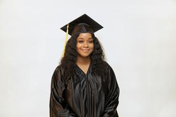 Graduation portrait, portrait of an attractive female college graduate