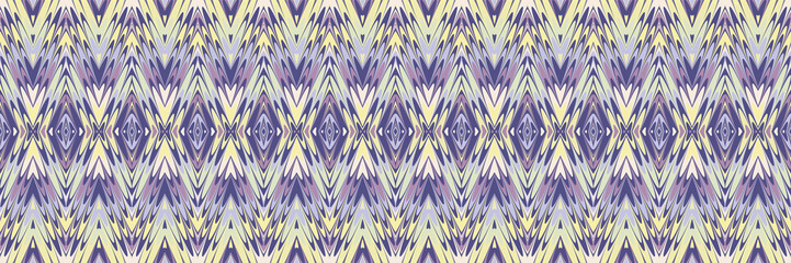 Marble paper tribal ikat background. Seamless border pattern with ethnic striped woven detail.Dip dyed batik banner edge.