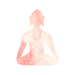 Meditating Buddha watercolor illustration Blush pink texture with paint stains