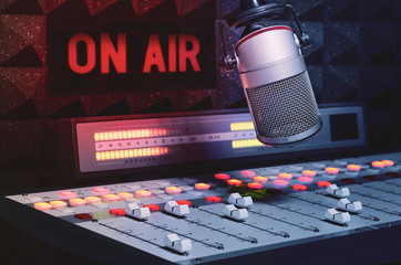 Professional microphone and sound mixer in radio studio