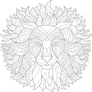 Coloring page for adult . Lion.