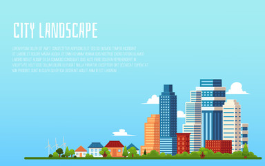 City landscape banner with blank copy space - flat cartoon cityscape