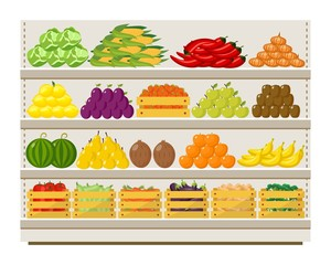 Vegetables and fruits on grocery food shelves in store flat vector illustration.