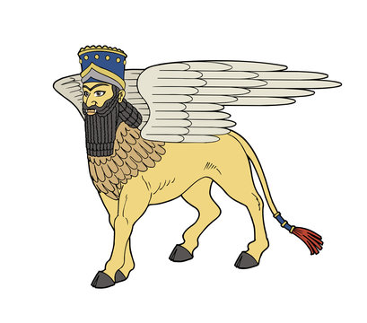 Assyrian deity winged bull of Shedu.