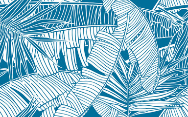 Tropical leaves pattern. Seamless texture with banana foliage and palm leaf. Design element, banner for tourism and travel industry, summer sale, print for fabrics and textile. Wall mural