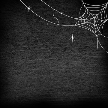 drawing group of spider web at the corner on retro vintage black color chalkboard background for halloween night party design concept concept