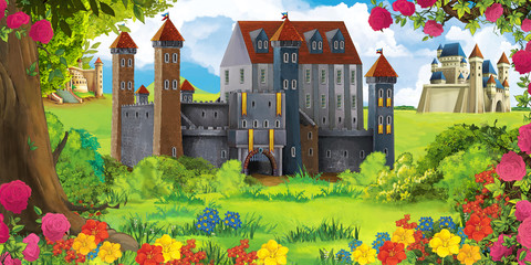 Photo sur Plexiglas Brun profond Cartoon nature scene with beautiful castle - illustration for the children