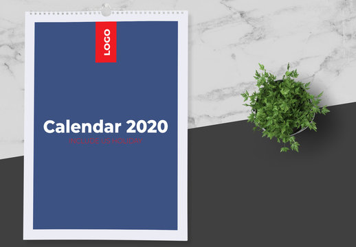 Blue and White 2020 Calendar Layout with Red Accents