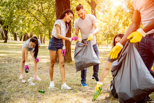 Team of friends cleaning up the park by collecting litter into plastic bags
