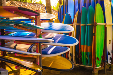 Set of different color surf boards