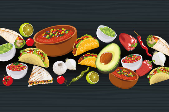 Delicious Mexican Food with ingredients