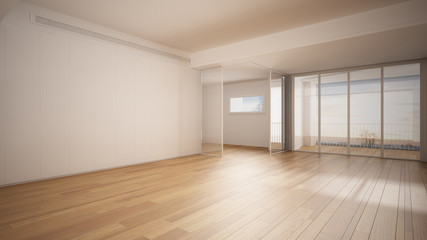 Obraz Empty room interior design, open space with white walls and parquet wooden floor, modern contemporary architecture, panoramic window, morning light, mock-up with copy space - fototapety do salonu