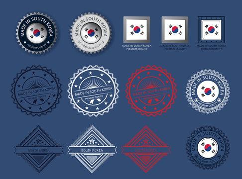 Made in South Korea seal, Korea flag and color  --Vector Art--