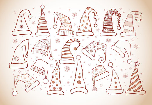 Set of doodle christmas hats in vintage style