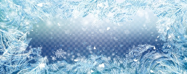 Foto auf Leinwand Himmelblau Christmas falling snow vector isolated on transparent background. Snowflake transparent decoration effect. Xmas snow flake pattern. Winter frozen glass background