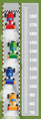 Meter wall with car racing. View from above. Vector illustration.