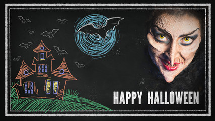 Leinwandbilder - Chalkboard with Happy Halloween message and a scary witch