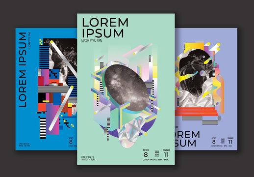 Conjunto de pósteres de evento futurista