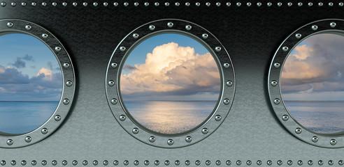 ship portholes - looking onto the ocean - 3d rendering