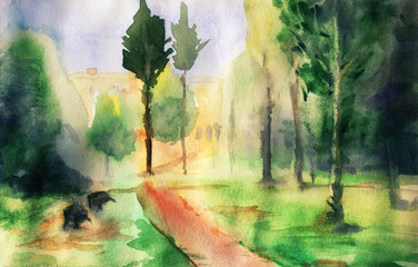 Abstract landscape with trees and walkway. Watercolor illustration in sketch style